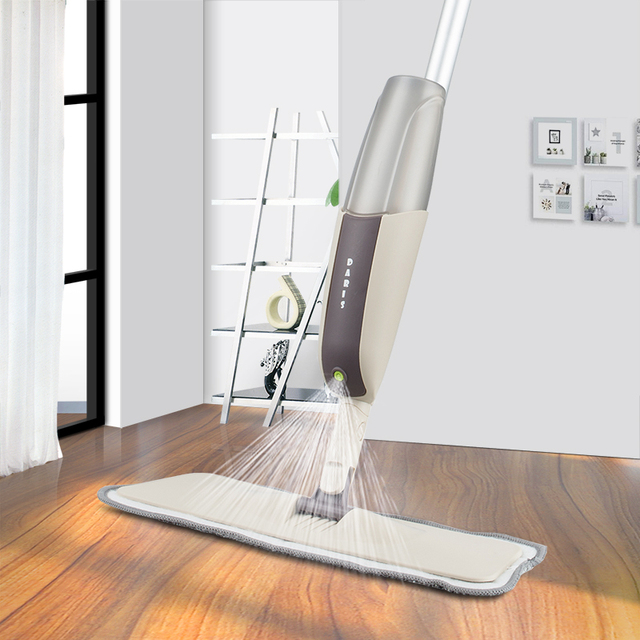 Spray floor mop with reusable micr