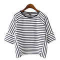 Black White Striped t shirt Women Tops Fashion Round Neck Summer Short Crop top Q-XZWM5