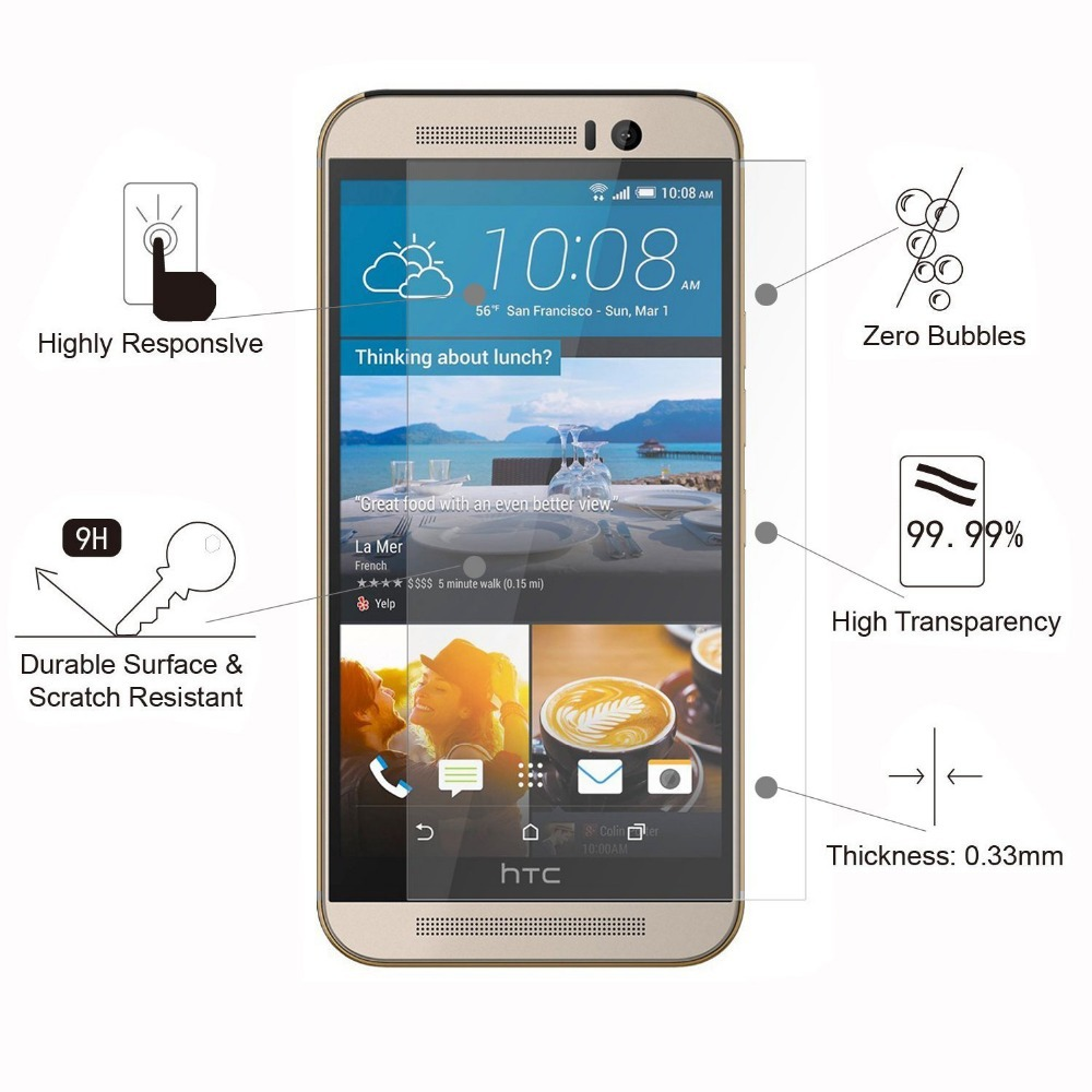 High Clear Explosion proof Front LCD Tempered Glass Film For HTC Desire 600 dual sim Screen