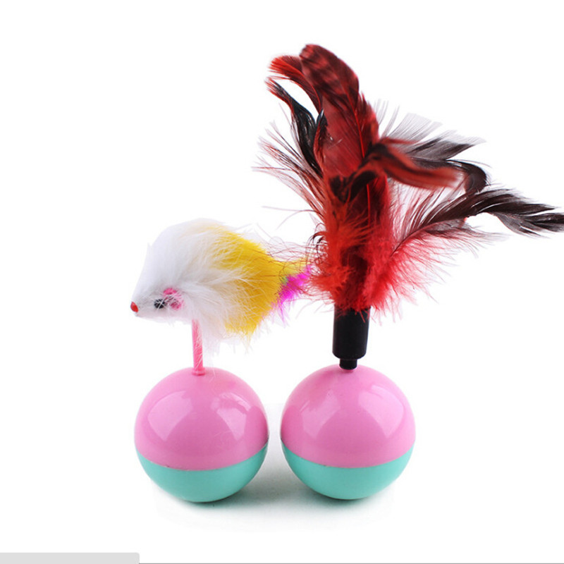 5.5cm Funny Pet Cat Toys Favorite feather Mouse Tumbler Plastic Toys Balls for Cats dogs playing for fun