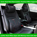 For Car Audi SLINE Leather Neck Super Soft Memory Foam Auto Seat Cover Head Neck Rest Cushion Headrest Supports