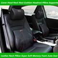 Para el Coche Audi SLINE Cuello de Espuma de Memoria Súper Blando de Cuero Del Asiento de Auto Cubierta de La Cabeza del Resto Del Cuello Del Amortiguador Reposacabezas Apoya