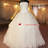 Real Pictures Of Ball Gown Lace Appliques Over Tulle Wedding Dress 2013 From China Manufacturer S026