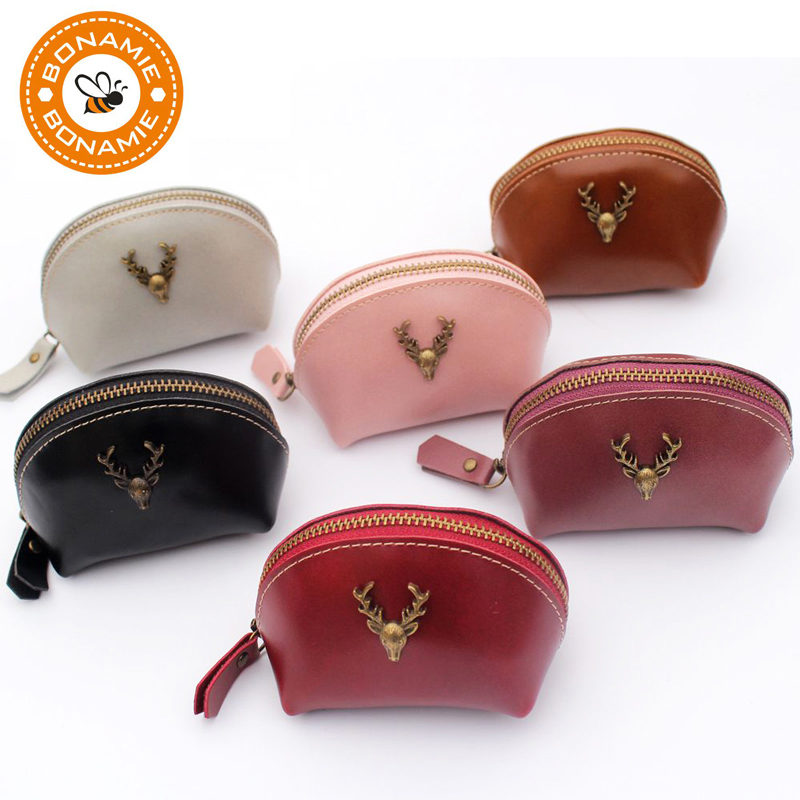 цена BONAMIE High Quality Women Leather Deer Coin Purse 2017 Fashion Mini Lady Zero Wallet Portable Clutch Handbag Carteira Feminina