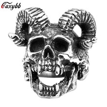 Mens 316L Stainless Steel Animal Goat Head Skull Ring Punk Rock Biker Rings Vintage Black Big Sheep Head Rings Men Jewelry Anel wholesale high quality mens punk 316l stainless steel pentagram star rings for men biker finger rings rock jewelry us size 9 12