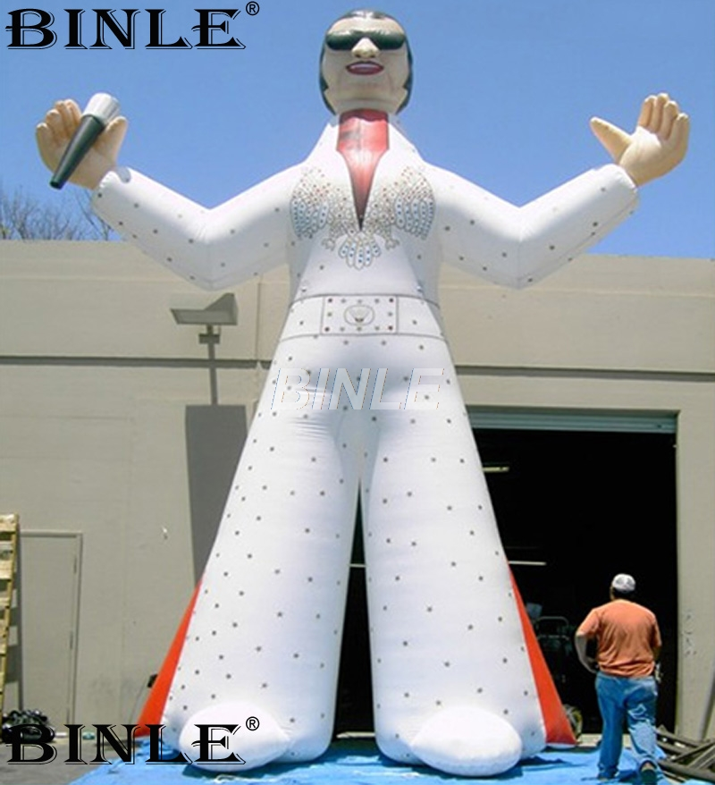 Hot sale giant inflatable rock star standing singer inflatable elvis statue with microphone for music event decoration event decoration inflatable stand flower