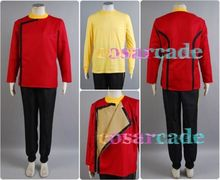 Star Trek II : The Wrath of Khan TWOK Monster Maroon Uniform Shirt Jacket Pants For Men Halloween Cosplay Costume