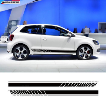 цена на Sport Racing Stripes Car Styling Door Side Skirt Sticker Auto Body Vinyl Decals For Volkswagen GOLF 567 POLO CC Tiguan Scirocco