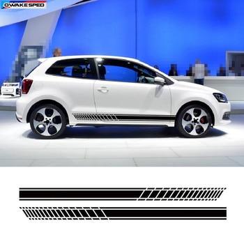 Спортивные Гонки полосы автомобиля Стайлинг Дверь боковая юбка наклейка на Автомобильный кузов виниловый наклейки для Volkswagen GOLF 567 POLO CC Tiguan ...