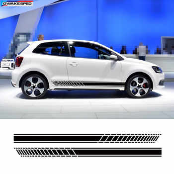 Sport Racing Stripes Car Styling Door Side Skirt Sticker Auto Body Vinyl Decals For Volkswagen GOLF 567 POLO CC Tiguan Scirocco - Category 🛒 Automobiles & Motorcycles