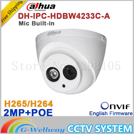 Wholesale Dahua DH-IPC-HDW4233C-A 2MP Dome Network IP Camera Built-in Mic Small IR HD WDR POE H.265/H.264 IPC-HDW4233C-A skinbox чехол книжка skinbox ms aw для asus zenfone laser 2 ze500kl