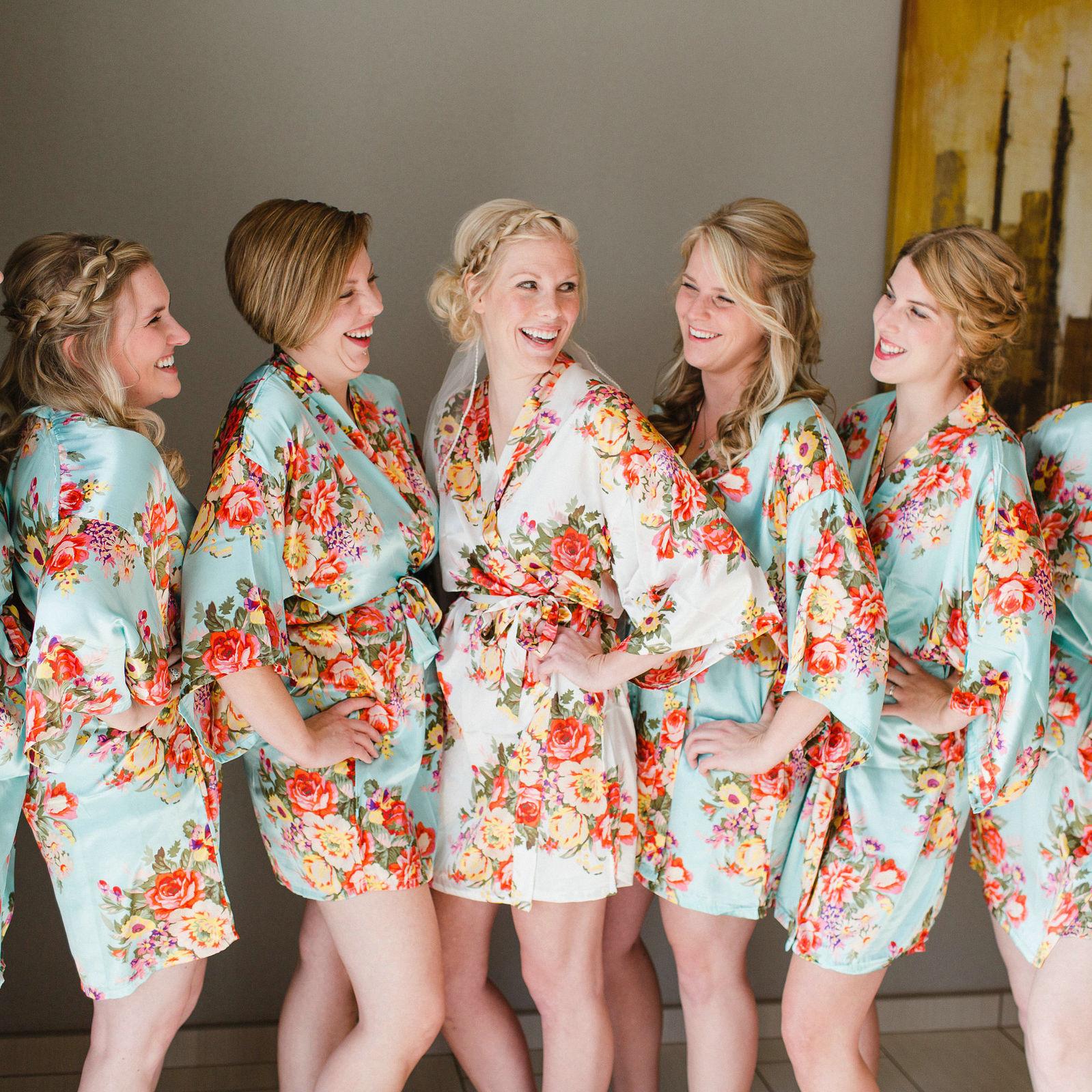 Floral satin robe bridesmaid robes gowns bride bath robe, wedding kimono robe