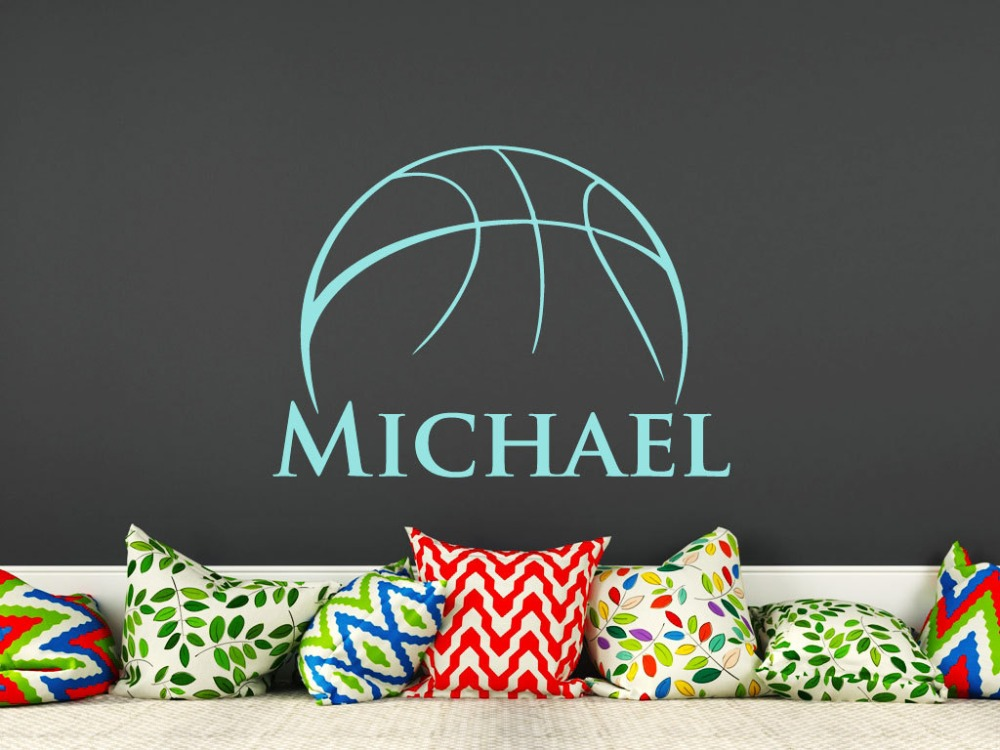 Basketball Wall Sticekrs Movable Personalized Name Nursery Rooms Home Decor Sport Basketball Wall Decal Boys Room Kids Gift W494 in Wall Stickers from Home Garden