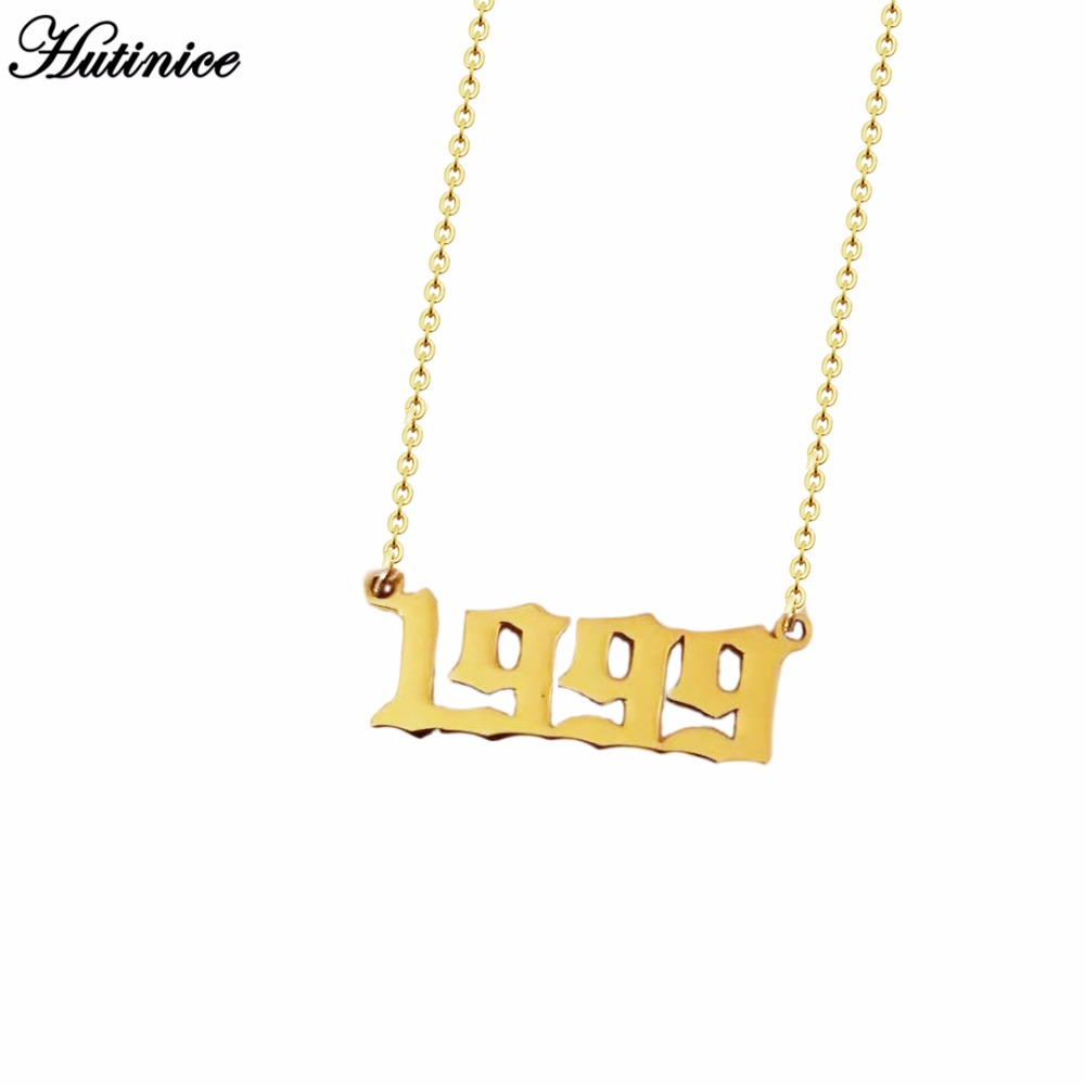 Personalized Old English Number Necklaces Women Custom  Jewelry Year 1991 1992 1993 1994 1995 1996 1997 1998 1999 Birthday Gift locket