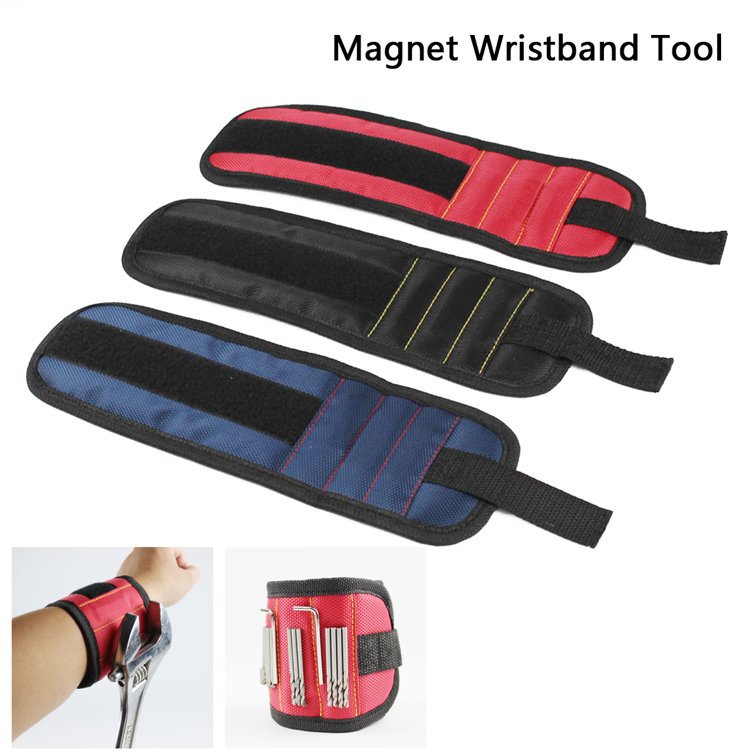 3 Magnets Screws Nails Drill Bits Electrician Bag Magnetic Wristband Portable Small Tool Bag Magnetic Bracelet