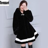 חדש 2017 צבע ניגוד שחור לבן חורף פו פרווה מעיל עם הוד שרוול ארוך מעילי פרווה מזויף אופנה בתוספת גודל 5XL 6XL