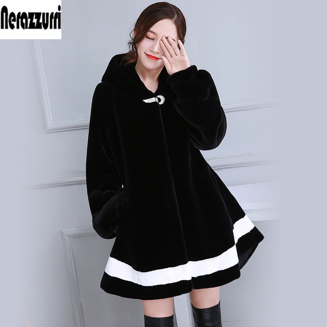 New 2017 Winter Black And White Contrast Color Faux Fur Coat With Hood Long Sleeve Fashion Fake Fur Jackets Plus Size 5XL 6XL
