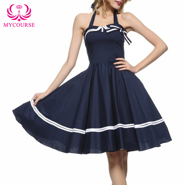 MYCOURSE New Arrive Party Vintage 50s Rockabilly Strawberry Sleeveless Pin up Women Summer Dress Audrey Hepburn Solid Slim Dress
