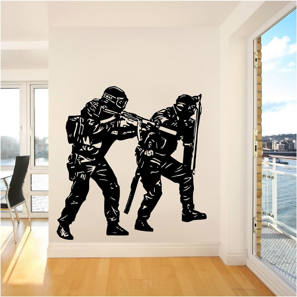 unique police soldier army wall sticker home decor vinyl decals for living room wall art pvc