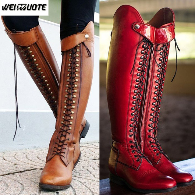 6af5162b97a WEINUOTE Women s Fashion Horse Riding Boots Lace Up Flat Cross Strap Long  Boots Vintage Leather Knee High Boots Botte Femme