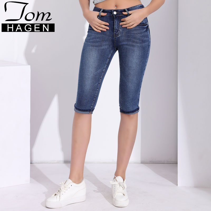 Skinny Jeans Woman High Waist Female Jeans Summer Denim Pants Capris