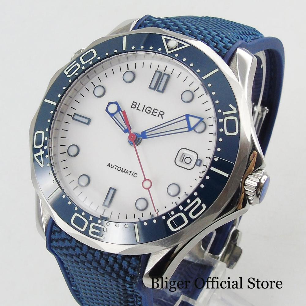 BLIGER Sport Style Mechanical Wristwatch White Dial 41mm Diameter Sapphire Crystal Pin Clasp