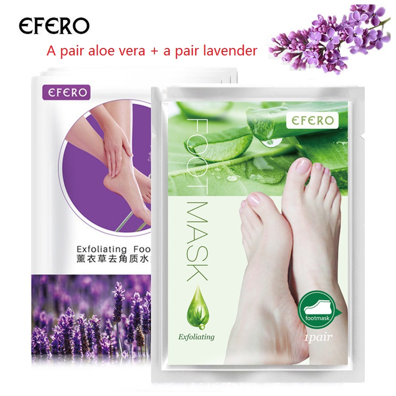 4pcs/2pair Aloe Vera&lavender Exfoliating Foot Mask Socks Dead Skin Remover Feet Mask Baby Feet Mask Foot Peeling Mask TSLM2