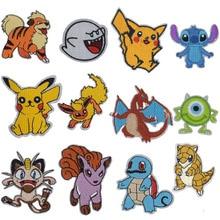 1Pcs Pokeball INSPIRED Animsl Iron On Patch Pikachu Bulbasaur Pocket Comics Woven Emblem applique Costume Cosplay Team clothing