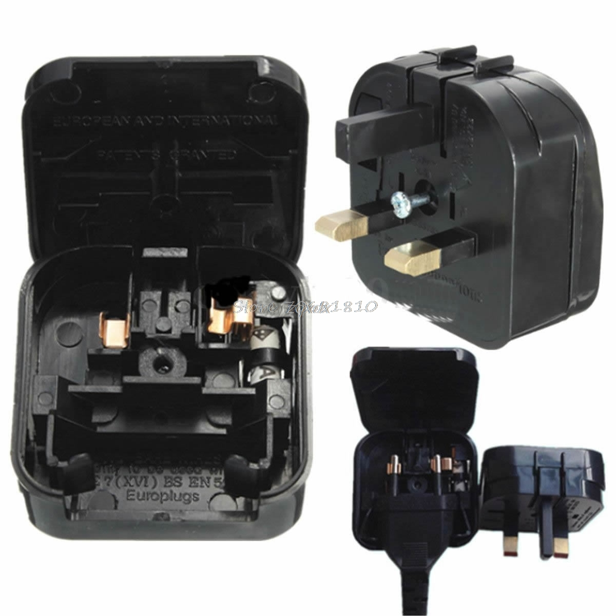 New European Euro EU 2 Pin to UK 3Pin Power Socket Travel Plug Adapter Converter