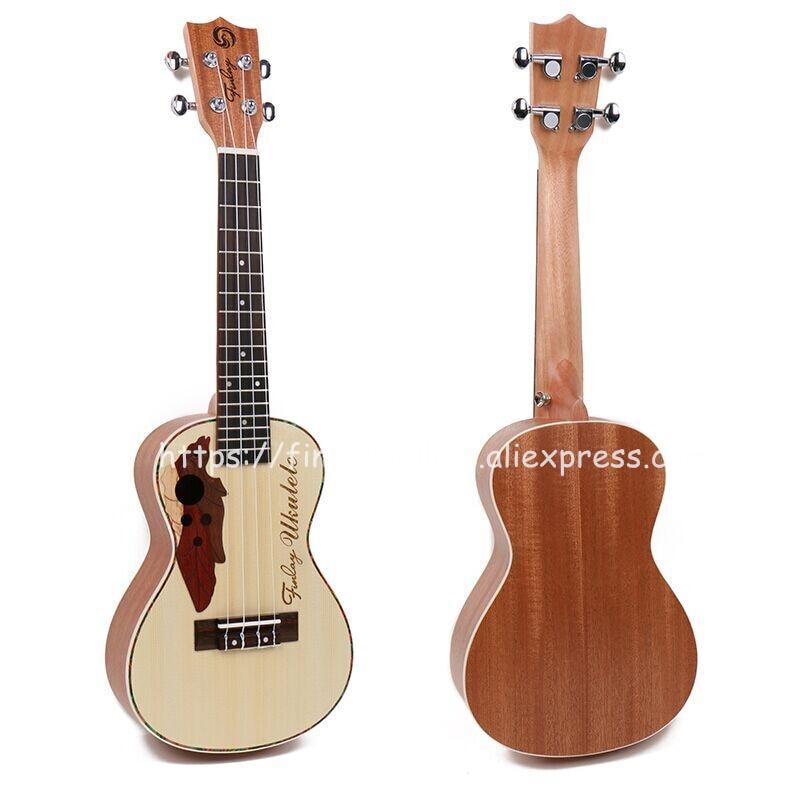 Finlay 24 ukulele,Acoustic ukulele Wtih Grape Sound Hole,Spruce top/Mahogany body hawaii guitars,FU-24 concert ukelele guitarra