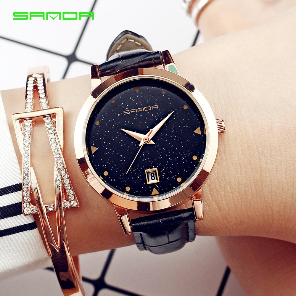 2017 Luxury Brand Women Watches Fashion Dress Ladies Watch Rose gold Star dial Design Leather Strap Quartz Watch Clock Women