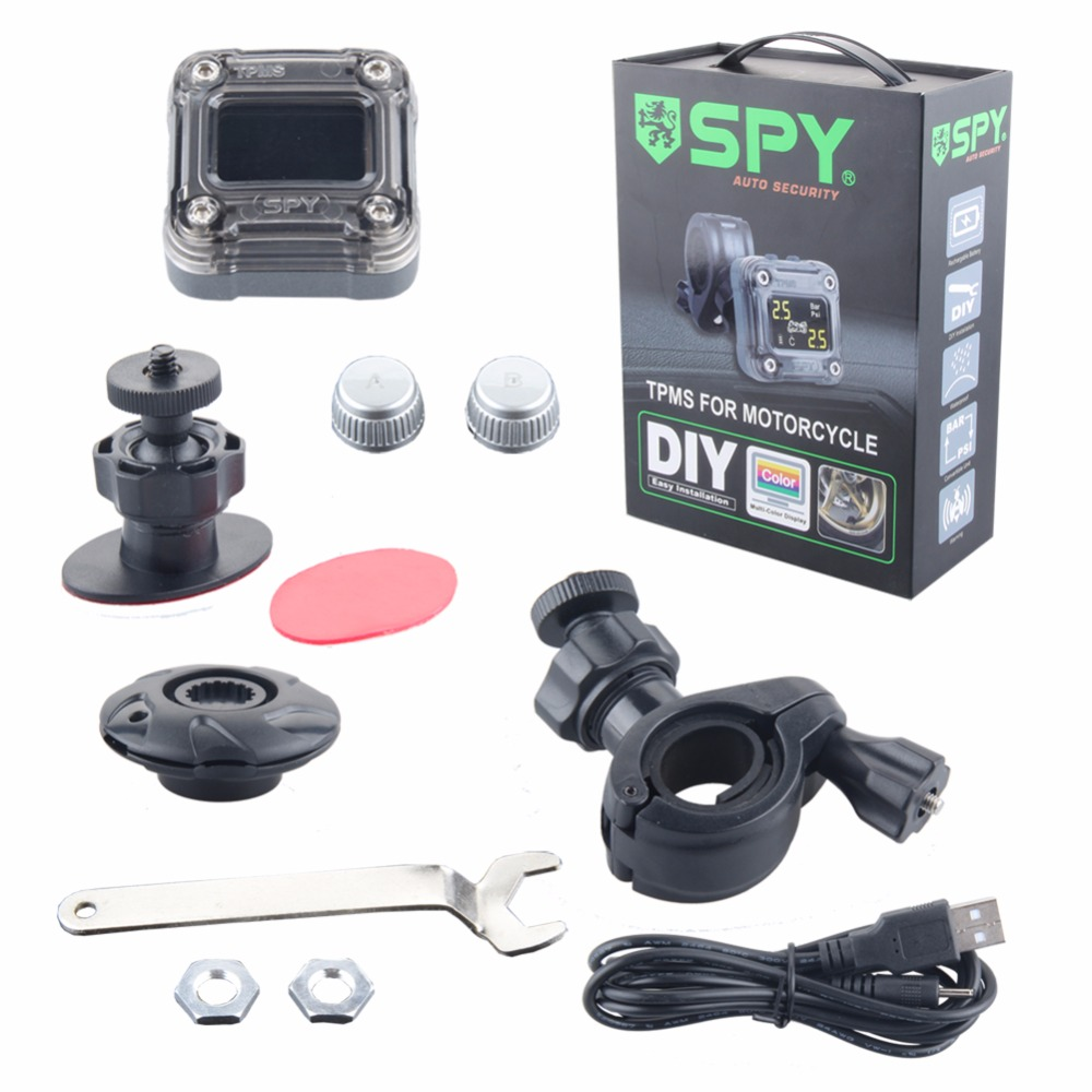Original SPY motorcycle tire pressure monitoring system wireless external TPMS sensor, LCD display 0 3.5 Bar PSI