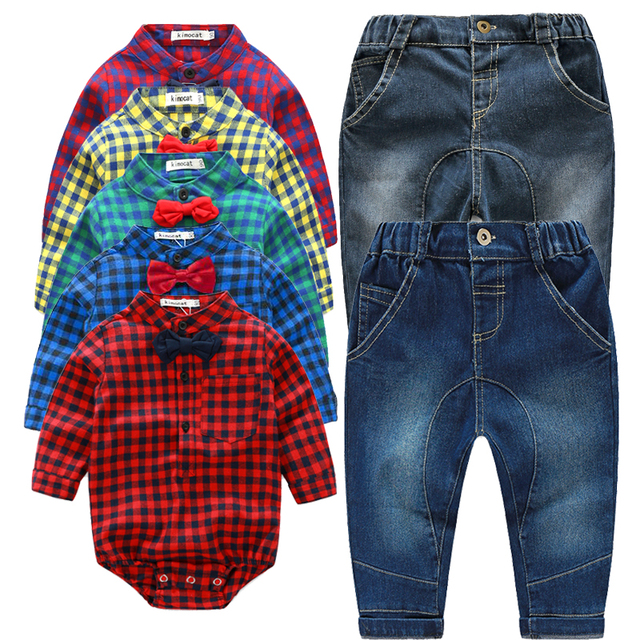 HOT Newborn baby clothes baby boys clothing set plaid rompers with bowtie +pants fashion baby boy clothes