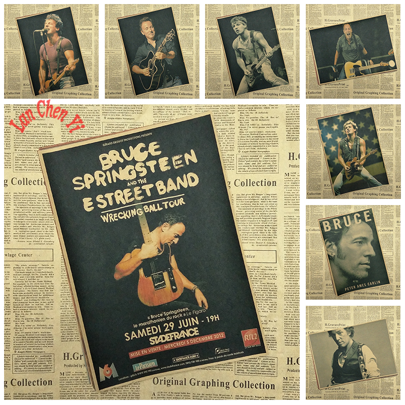 Bruce Springsteen Vintage Rock Band Music Kraft Paper Poster High Quality Printing Drawing Core Decorative Painting