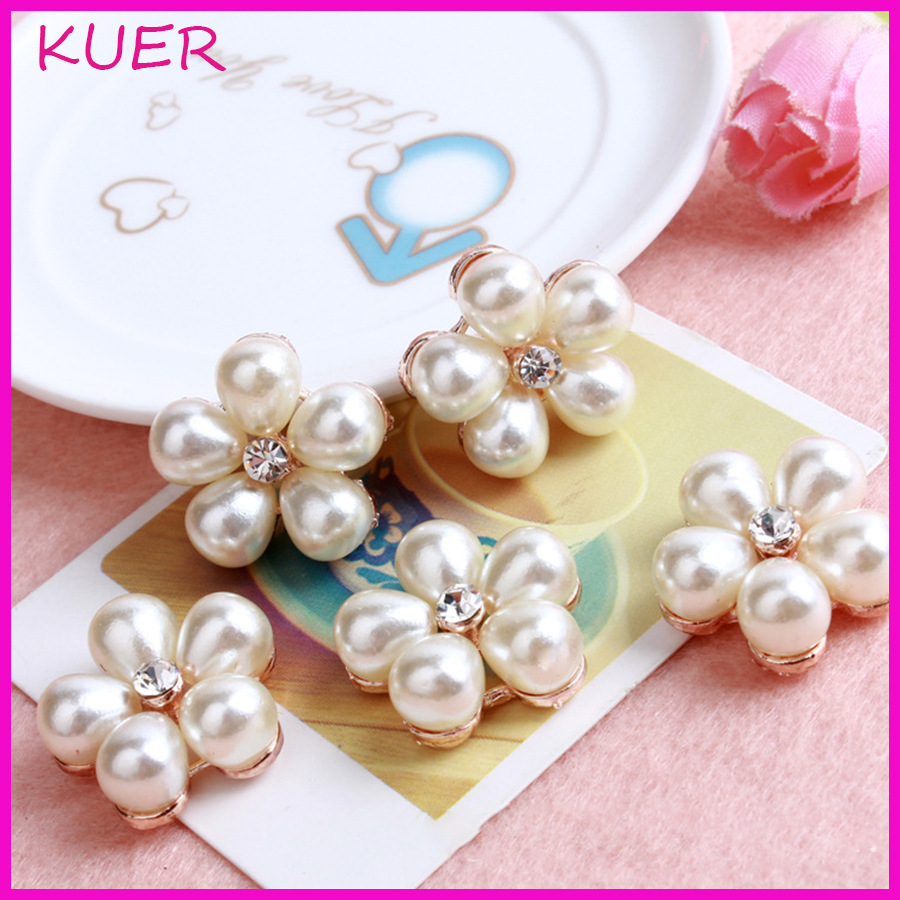 Hair bow button accessories - Diy Hairbow Material Metal Alloy Imitate Pearl Rhinestone Flatback Button Wedding Party Dress Craft Sewing Accessories