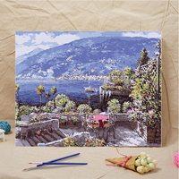 40*50 см DIY морской пейзаж Живопись Домашний Декор для гостиной DIY Bay пейзаж холст картина маслом