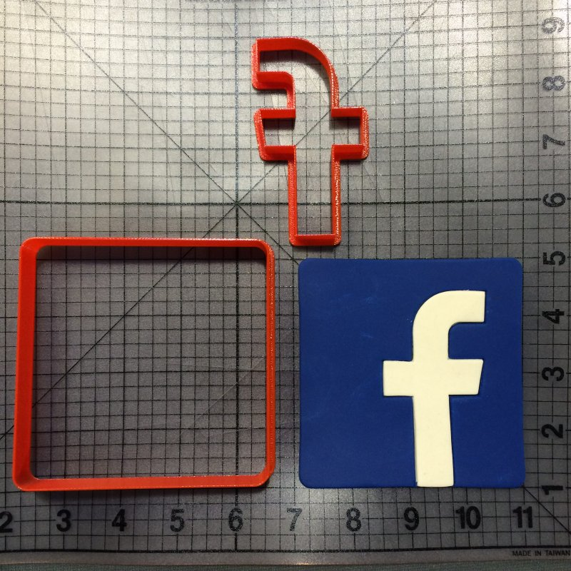 Facebook Logo Cookie Cutter set Fondant Cupcake Top Custom Made 3D Printed Cake Decorating Tool Molds