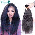Brazilian Kinky Straight Bulk Hair For Braiding Human Braiding Hair Bulk Natural Black 3Pcs Corase Yaki Braiding Hair Extensions