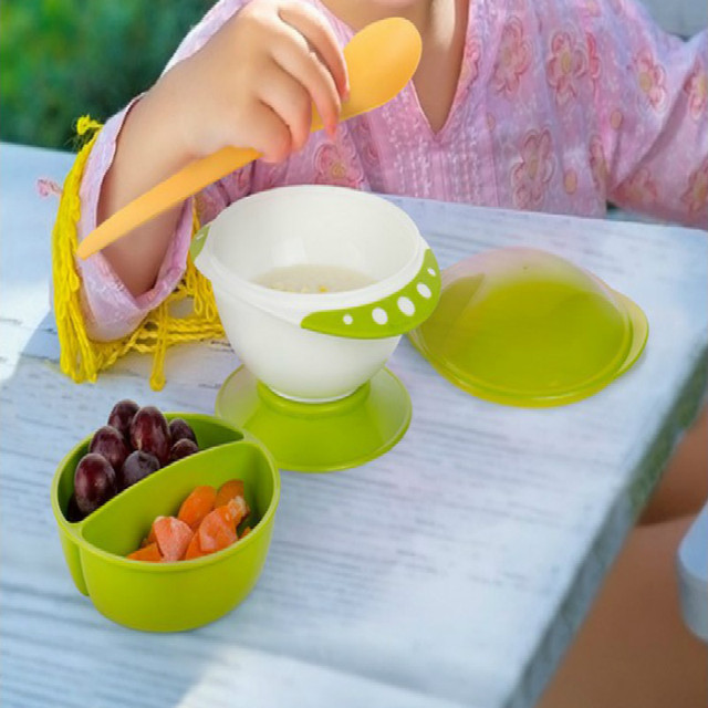 2017 crianças treliça de plástico tigela de comida tigela otário bebê talheres infantil formação bacia do jantar conjunto com tampa de queda