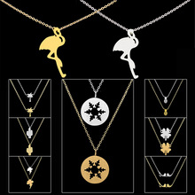 GORGEOUS TALE Plam Tree Clover Snowflake Pineapple Chokers Necklaces Women Gold Color Tattoo Stainless Steel Chain Bijoux Femme