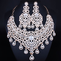 Middle Eastern bride necklace earrings two piece luxury full crystal wedding jewelry sets dubai gold jewelry sets for women