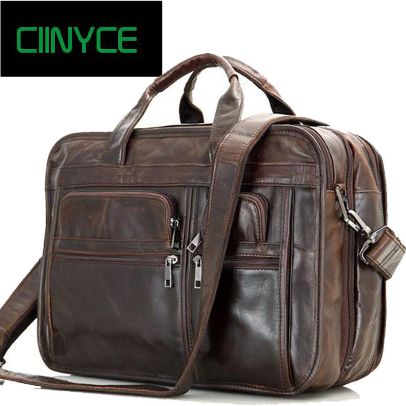 Luxury Genuine Leather Men's Briefcase Coffee Messenger Shoulder Large Capacity Business Totes Travel Bags 15.6 Laptop Handbags