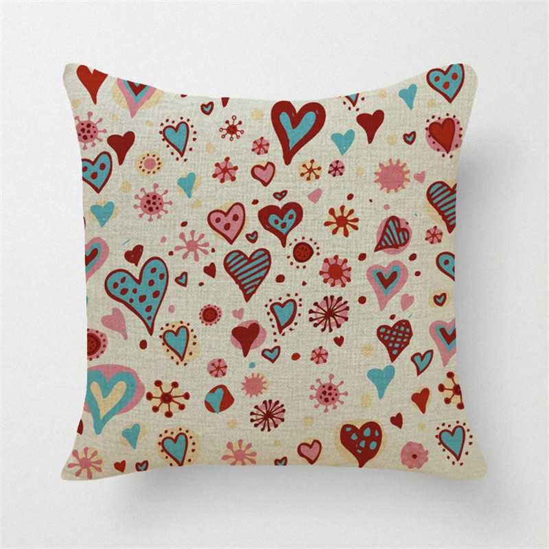 Fashion Style 45*45cm Square Home Decorative Pillow Lovely Heart Printed Throw  Pillows Car Home