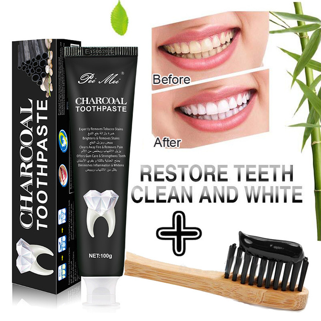 Nature Bamboo Activated Charcoal Toothpaste Teeth Whitening Removes Stains Black Toothpaste Oral Hygiene 100g