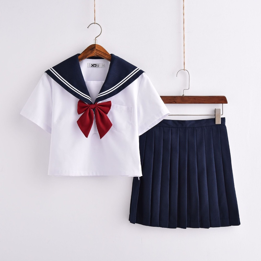 New Arrival Sailor Suit School Uniform Sets JK School Uniforms For Girls White Shirt And Dark Blue Skirt Suits Student Cosplay