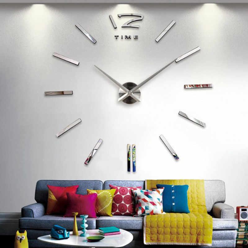 DIY Reloj de pared adhesivo 3D reloj de espejo grande pegatinas de pared 2018 nueva decoración del hogar Relojes de pared de diseño moderno pegatina de pared