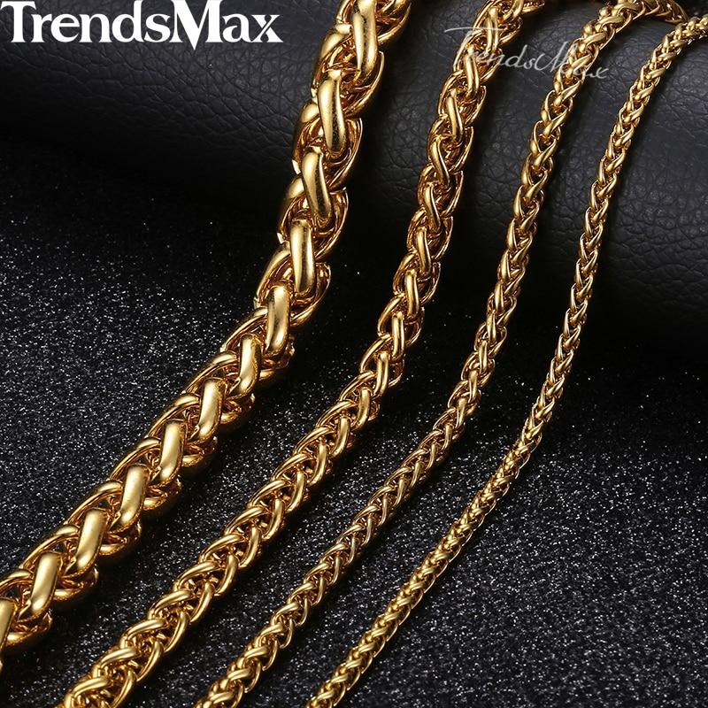 Prilagojena dolžina 3-10mm moška ogrlica iz nerjavečega jekla zlata okrogla špica pšenične verige hip-hop nakit ogrlica za moške KNM136
