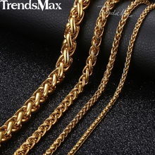 Personalized Length 3-10mm Men's Necklace Stainless Steel Gold Round Spiga Wheat Chain Hip Hop Jewelry Necklace For Men KNM136