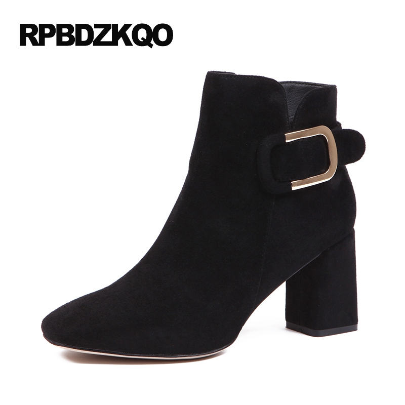 Vintage Metal Side Zip Boots Square Toe Suede High Heel Booties 2017 Black Women Autumn Shoes Chunky Retro Short Fall Ankle block platform high heel ankle short women boots medium chunky round toe shoes autumn 2017 vintage black booties chinese ladies
