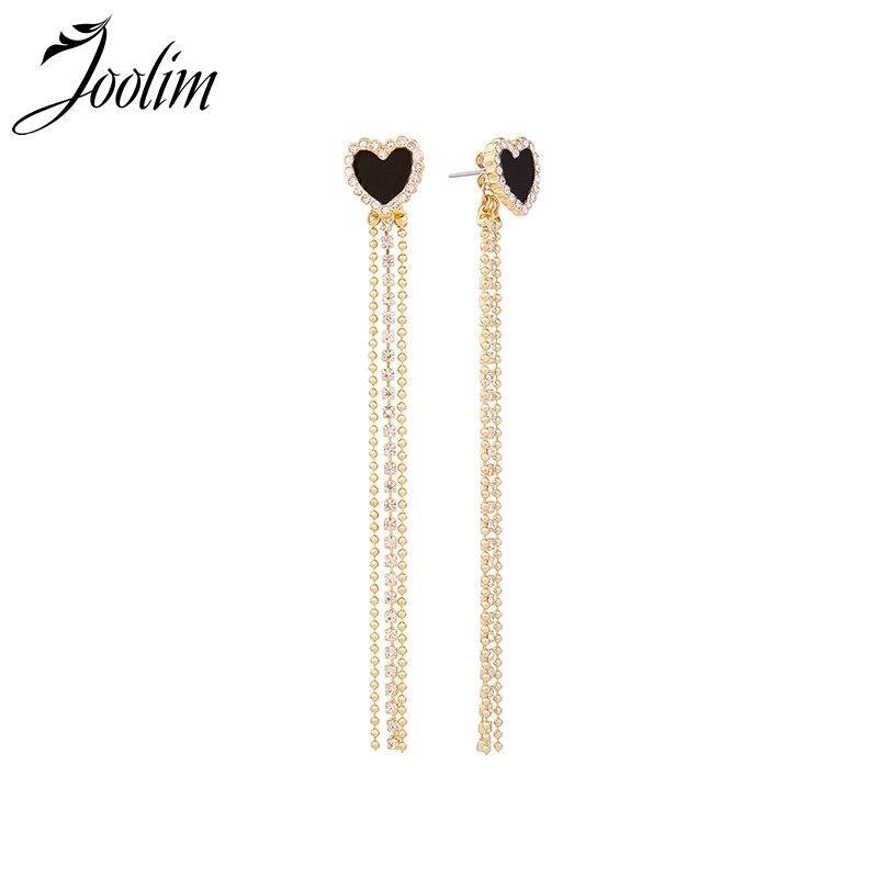 JOOLIM Black Heart Metal Tassel Asymmetric Korean Earring Piercing Earring 3f075fbba879
